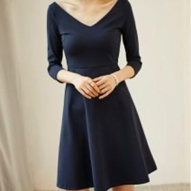 96a8e0a54af05  送料無料 ワンピース ドレス フォーマル 七分袖 Vネック Aライン フレアスカート