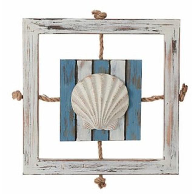サマー マリン装飾デコレーション 40cmオールドウッドデコシェル [DIMA3735]【フェイク 作り物 飾り 夏 マリン サマー レプリカ】