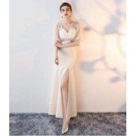パーティードレス ロングドレス 披露宴 パーティドレス  二次会ドレス 結婚式 ドレス ワンピース 細身  お呼ばれドレス