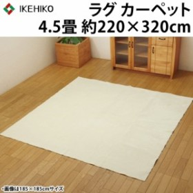 イケヒコ ラグカーペット 4.5畳 洗える 『イーズ』 アイボリー 約220×320cm 裏:すべりにくい加工 ホットカーペット対応 3963599