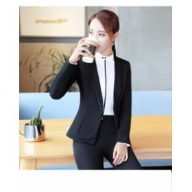 ファッション長袖レディーススーツ 2点セットスーツ リクルートスーツ フォーマル 事務服 パンツスーツ 通勤 就活 OL ビジネス