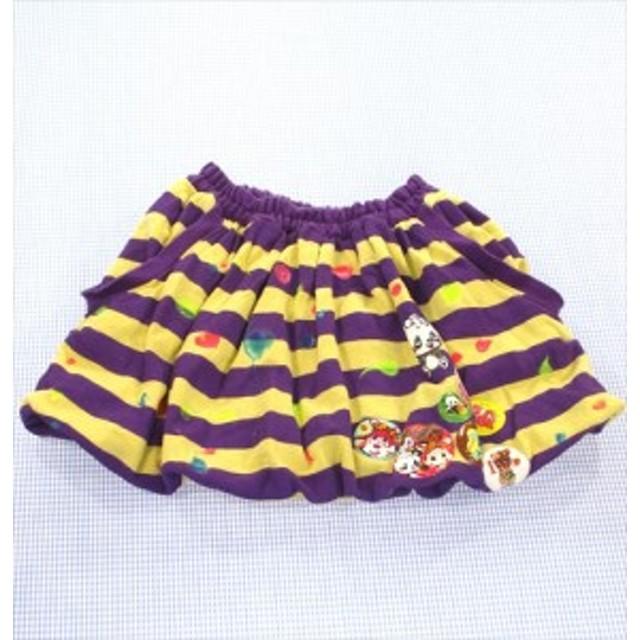 2c569bfc10360 グラグラ GRAND GROUND バルーンスカート 130cm ボーダー 紫 黄色系 着用感少し 女の子 キッズ
