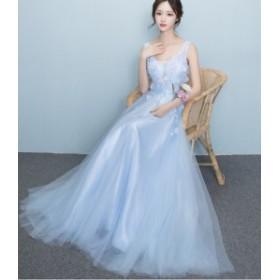 花柄 パーティードレス編み上げ フォーマル ブライズメイドドレス/結婚式二次会卒業式 花嫁の介添え着痩せ30代20代 司会 袖なし