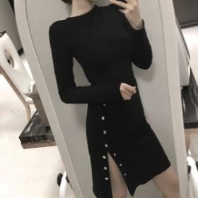 細身 大人 ニット ワンピース/ドレス