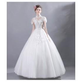 40e5a06d618a9 ウェディングドレス ロング丈 パーティードレス バニエ付き ロングドレス 披露宴結婚式花嫁 司会 フランス