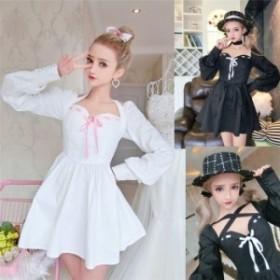 【送料無料】ドレス ワンピース  ワンピ 肩出し 白 長袖 蝶結び 黒 パーティードレス 可愛い お呼ばれ レディース 姫系 ロリータ衣装