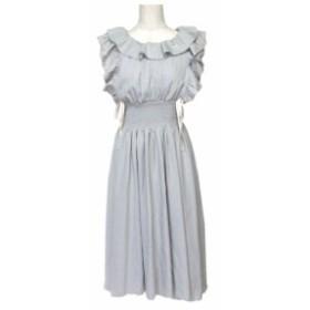 美品 mon Lily モンリリィ- フリルドレープワンピース (グレーロング ドレス) 109246【中古】