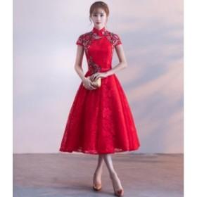 イブニングドレス☆ミニ・ドレスレース ワンピース 結婚式 ドレス パーティードレス フォーマル ドレス