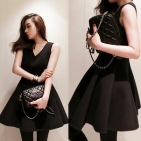 【予約】Vネック フレア ワンピース ブラック シャツワンピ 40代ファッション セットアップ タイト