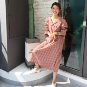 タータンチェック柄 襟付き ワンピース/ドレス