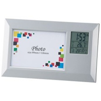 時計付き フォトフレーム/写真立て [ワイド] アラーム・カレンダー 写真サイズ:89×126mm 化粧箱入