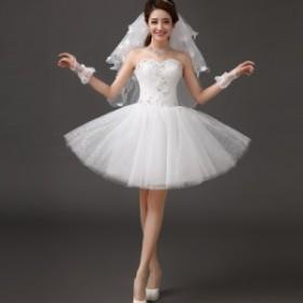 ミニドレス 優雅 イブニングドレス ウェデイングドレス 上品 パーティードレス 袖なし 結婚式 二次会 司会 誕生日 着痩せ 編み上げ