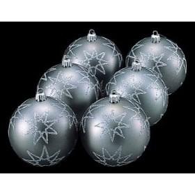 クリスマスツリー飾り オーナメント 80mm マットシルバースターボール(6個入り) [TOBA6146]
