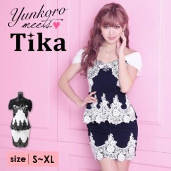 Tika (S/M/L/XL) クロッシェレースペプラムタイトミニドレス ホワイト ネイビー ドレス 大きい サイズ キャバ ドレス キャバクラ キャ
