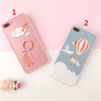 iphone6s Plus/iPhone6 Plus/iPhone7 Plus/iPhone7/iPhone8 Plus/iPhone8/iPhoneXケース白雲気球リングケース【jg274】
