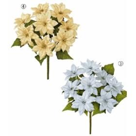 クリスマス装飾 造花 フラワー 花束 シャイニーノーブルポインセチアブッシュ(8) [FLBU6714]