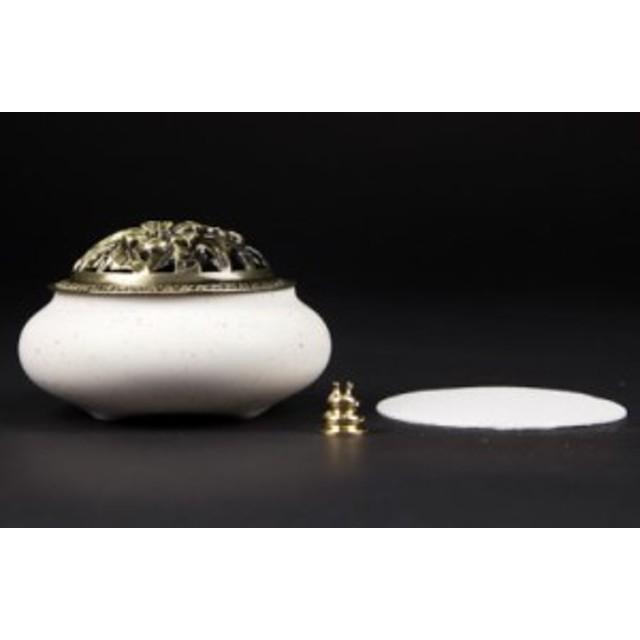 【お取り寄せ】香炉 アンティーク風 ミルキーカラー 陶器製 蓋 お香立て付き (アイボリー)