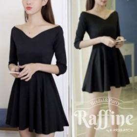 オフショルダー シンプル ミニ ワンピース フレア 結婚式 二次会 お呼ばれ ブラック ドレス 韓国 黒 RW0044