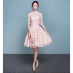パーティードレス  結婚式 ドレス ワンピース 袖あり 二次会 ドレス ウエディングドレス フォーマルドレス お呼ばれ ドレス