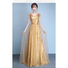 パーティードレス ファッション ロングドレス ウェディングドレス フェミニン 金色 半袖 司会 年会 発表会 ピアノ ファスナー