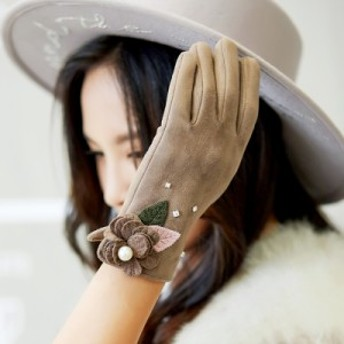 女性用 スマホ 手袋 レディース 暖かい スマホ対応 防寒 おしゃれ 5本指 柔らかい てぶくろ ふわふわ リボン 冬花柄miss591