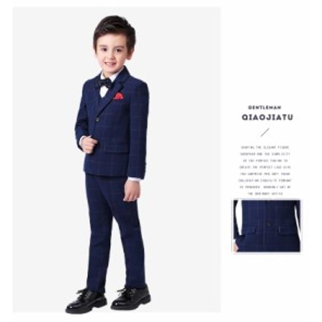 子供スーツ  セットアップスーツ 4点セット ジャケット ズボン 男の子 チェック柄 キッズスーツ 結婚式 およばれ 七五三