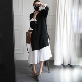 2カラー ドッキング シャツ ワンピース/ドレス