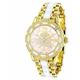 【当店1年保証】ラックスマンLadies Diamond Watches 18k Yellow Gold Plated Stainless Steel White