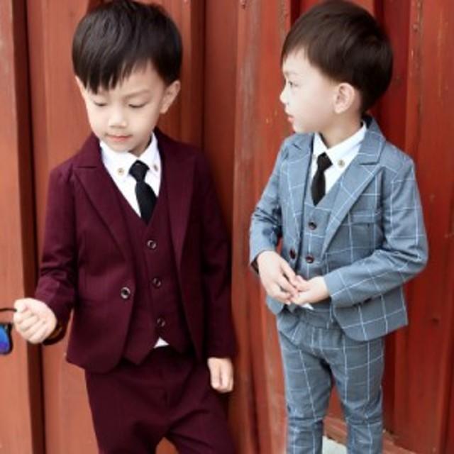 b2ac1d8bce6a6 チェック柄男の子長袖スーツ 3点セットアップ フォーマルスーツ 子供服 男の子スーツ入学式