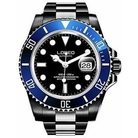 【当店1年保証】ロレオLOREO Mens GMT Black Stainless Steel Sapphire Blue Rotating Bezel Black dial