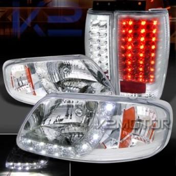 テールライト 97-02遠征クロムSMD DRLストリップヘッドライトクリーン ar LEDテールブレーキランプ