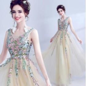贅沢な刺繍★結婚式 ウェディングドレスト 二次会 パーティードレス 披露宴 ブライズメイド服 編み上げ