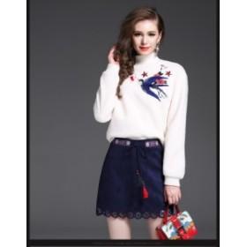 可愛い 秋冬 2点セット ファッション ワンピース 上下セット 刺繍 セットアップ 上着 ショートスカート 通勤 二次会 姫系