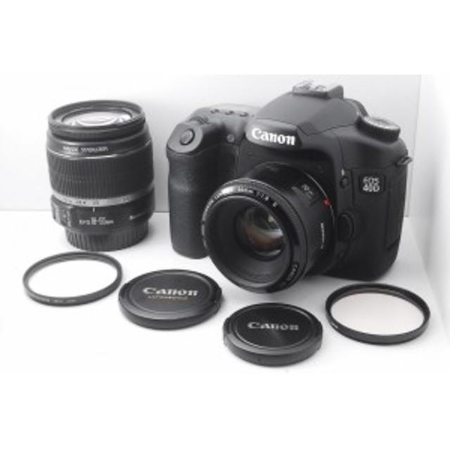 【中古 保証付 送料無料】Canon デジタル一眼レフカメラ EOS 40D 『オリジナルダブルレンズ』/一眼レフカメラ /初心者/送料無料
