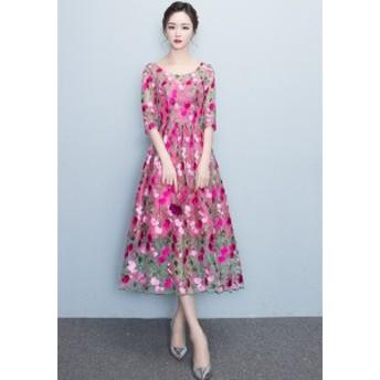 二次会ドレス ロングワンピース チュニック 花柄 パーティードレス ワンピース演出 結婚式お呼ばれ カラードレス チャイナドレス