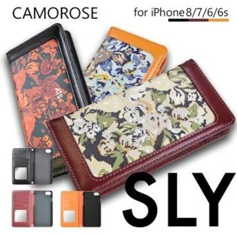 50%OFF SALE セール iPhone8 ケース 手帳型 iPhone7 iPhone6s iPhone6 兼用 ブランド SLY スライ CAMO ROSE 手帳型 スマホケース 花柄 内