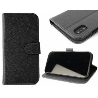 Apple iPhone X用 PUレザー レイシー調 横開き手帳タイプ カード入れ 保護カバー#ブラック【新品/送料込み】