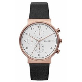 【当店1年保証】スカーゲンSkagen Men's SKW6371 Ancher Black Leather Chronograph Watch