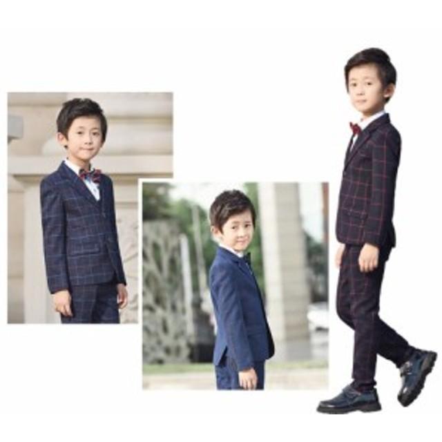 男の子スーツ セットアップスーツ 2点ジャケット ズボン チェック柄 フォーマルスーツ 子供服