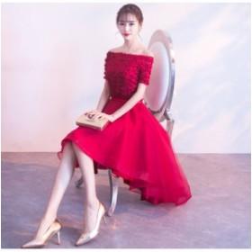 オフショルダー 素敵 ミモレドレス 上品 パーティードレス フェミニン イブニングドレス ミディアム丈 結婚式 花嫁 韓国風 編み上げ