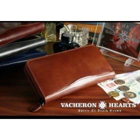 b850297ee566 長財布 本革 メンズ イタリアンレザー×サラマンダーボンデッドレザー VACHERON HEARTS ラウンドファスナー