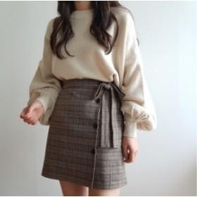 【全2色】Aライン チェック柄のハイウエストスカート シンプル ショート 無地 ボトムズ