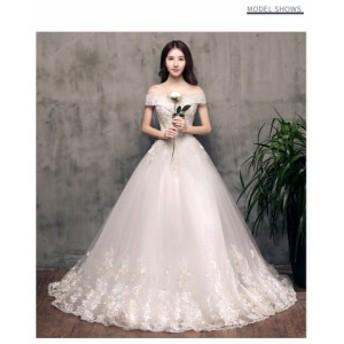 韓国風 素敵 チュールスカート ウェディングドレス 超人気 パーティードレス ロングドレス 演奏会 撮影 舞台 編み上げ