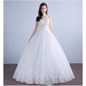韓国風 人気 ウェディングドレス ロングドレス パーティードレス フェミニン エレガント 着痩せ 撮影 演奏会 舞台 編み上げ