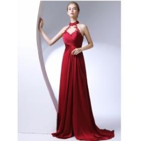 ホルターネック ロングドレス パーティードレスイブニングドレス ウェディング プリンセス 花嫁 披露宴 成人式 セクシー ファスナー