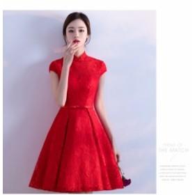 レースワンピース 立ち襟 ミニ丈 イブニングドレス  結婚式二次会 ドレス お呼ばれ ワンピース 20代30代 パーティードレス