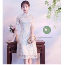 パーティードレス 結婚式Aラインフォーマル 2次会 謝恩会 20代30代 ブライズメイド 着痩せ 立ち襟 刺繍 ロング丈