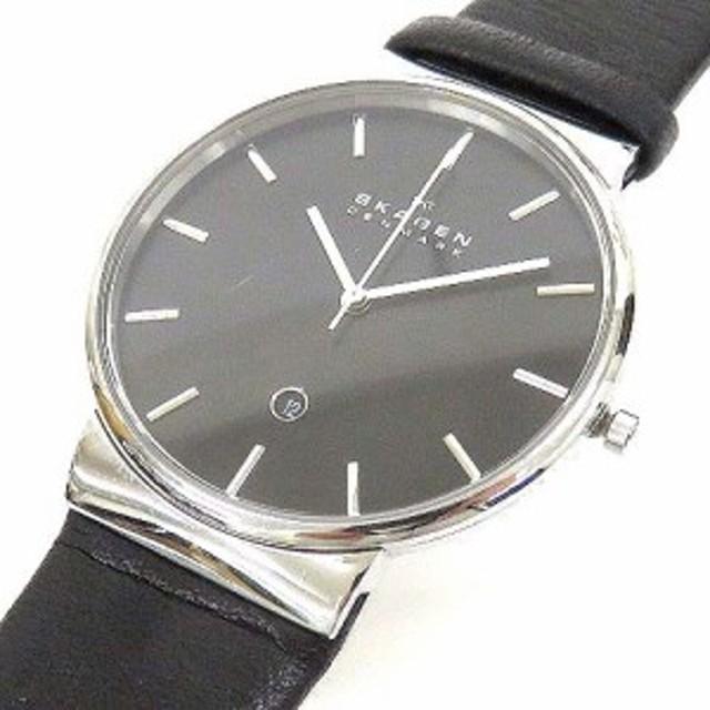 0a8709429a スカーゲン SKAGEN SKW6104 ANCHER アンカー 腕時計 ウォッチ クォーツ レザーベルト ブラック 黒 170917 メンズ