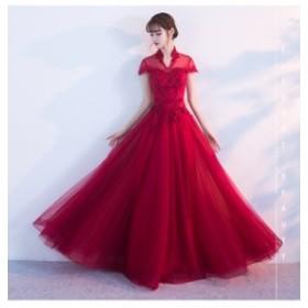 着痩せ 立ち襟 手作り ロングドレス 半袖 ウェディングドレス 豪華 フォーマルドレス 素敵 パーティードレス 発表会 花嫁 挙式 編み上げ