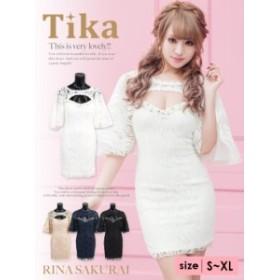 Tika ティカ (S/M/L/XL) レースデザイン胸元カットフリル袖タイトミニドレス lサイズ  ドレス 大きいサイズ パーティー キャバ ドレス キ